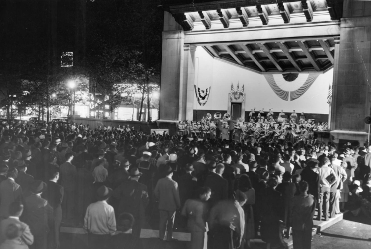 1951: United States Army field band performs in Reyburn Plaza, Evening Bulletin | Special Collections Research Center, Temple University Libraries, Philadelphia, PA