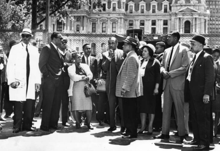 1963: Cecil B. Moore addresses demonstrators at Municipal Services Building site. | Special Collections Research Center, Temple University Libraries, Philadelphia PA