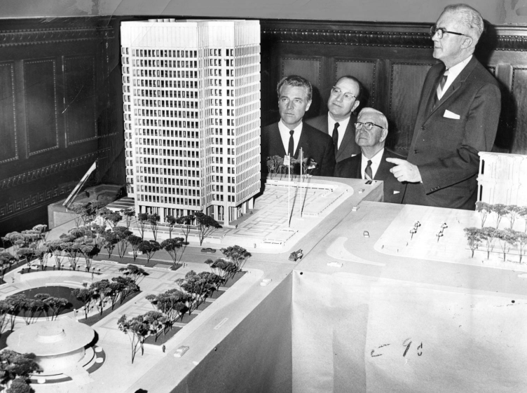 1964: City officials inspect model of Municipal Services Building project. | Special Collections Research Center, Temple University Libraries, Philadelphia, PA