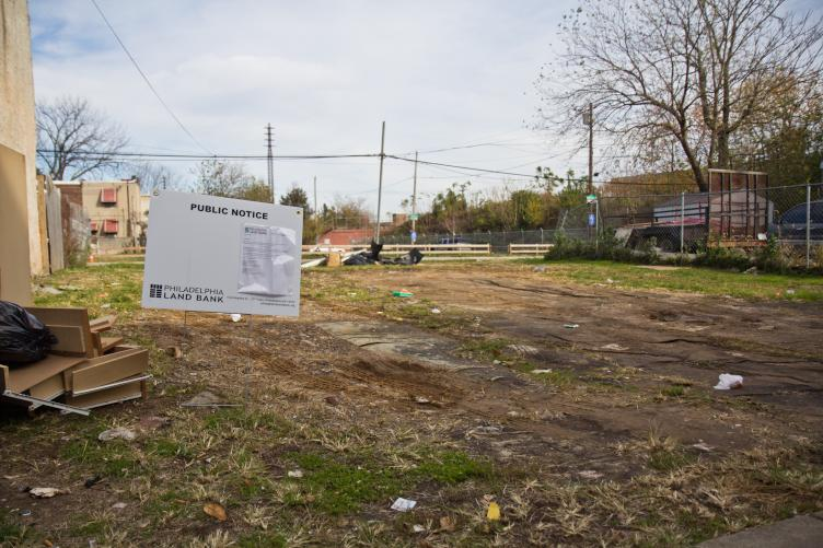A lot on Orleans Street in Kensington will be the site of a prototype of a new kind of small prefab rowhouse. (Kimberly Paynter/WHYY)