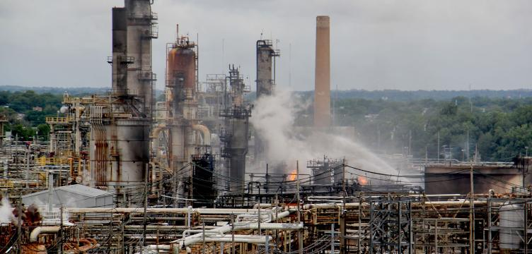 A fire burns at the Philadelphia Energy Solutions refinery hours after a series of early morning explosions at the 150-year-old industrial complex at 3100 W. Passyunk Ave. (Emma Lee/WHYY)