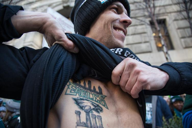 A fresh and accurate tattoo commemorating the Eagles' win. Credit: Emily Cohen/WHYY