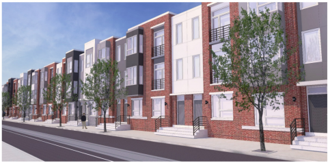 A rendering of proposed rowhomes on 11th Street
