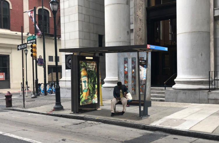 A rendering of the bus shelter at 12th and Chestnut streets, with restored stained-glass panels.