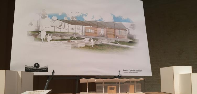 A rendering of the Peace Park Pavilion to be built at North Philly Peace Park in Sharswood