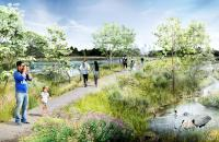 A rendering of the wetlands imagined in the new plan for FDR Park
