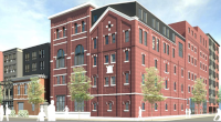 A rendering shows a redeveloped Gretz Brewery on Germantown Avenue. ( T+ Associates.)