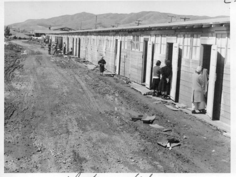 A temporary assembly center at Santa Anita Racetrack, where horse stalls were remodeled into living quarters for families. | The Bancroft Library, University of California, Berkeley