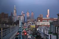 A view of the Philadelphia skyline from the 52nd Street station on the Market-Frankford elevated line in West Philadelphia. (Emma Lee/WHYY)