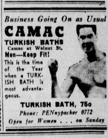 An ad for the Camac Turkish Baths printed in the Philadelphia Inquirer, Sunday, March 15th, 1936.