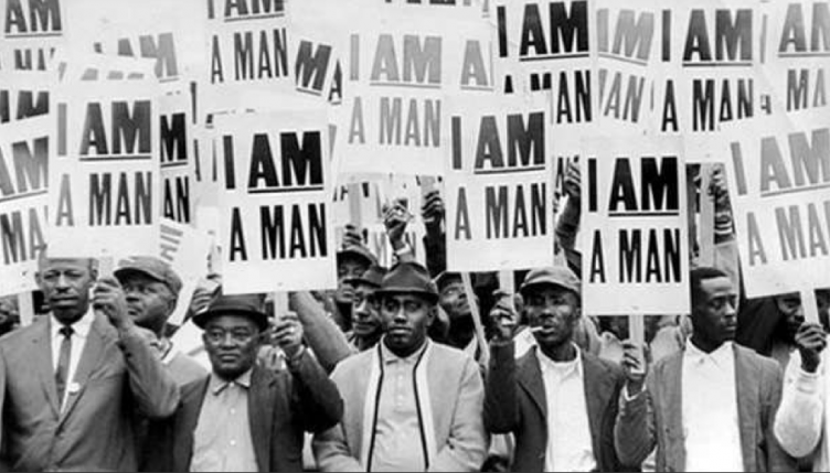 An archival photo of the 1968 sanitation worker strike attended by King in Memphis.