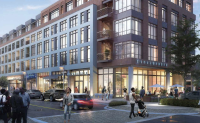 An artist's rendering of the redevelopment proposed for South Philadelphia Shopping Center at 23rd and Oregon Avenue. (Cedar Realty Trust)