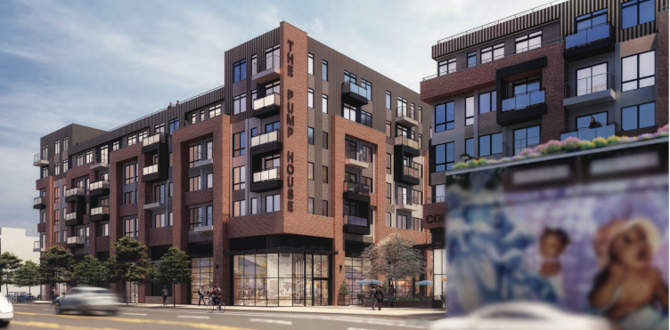 An artist's rendering shows the 2157 E. Lehigh development's  commercial entrance on Lehigh. The wall seen on the right runs along approximately 325 feet of the site. (DesignBlendz/B.S.K.M.)