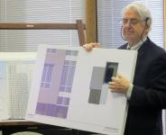 Architect Cecil Baker shows Historical Commission members design details