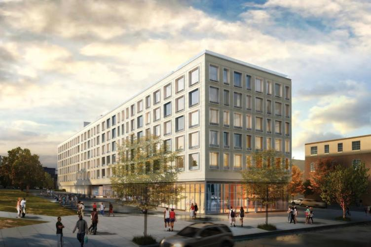 Artist's rendering of the planned 10 North Station building, as seen from Broad Street. (Kelly Maiello Architects)