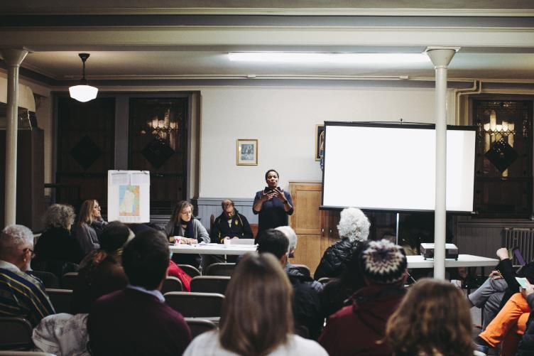Bethel Burying Ground meeting at St. Philip Neri Church in December. (Neal Santos for PlanPhilly)