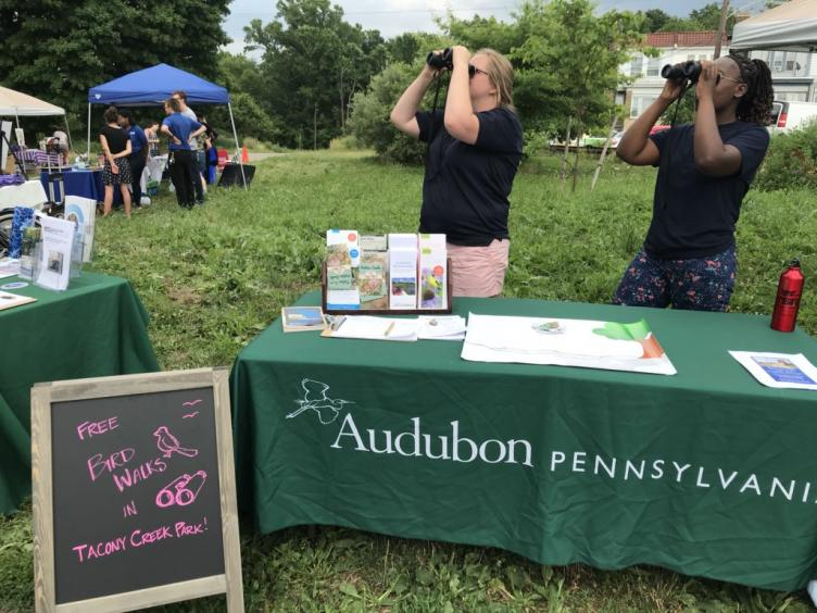 Bird watching with Audobon PA during the Tacony Creek block party.