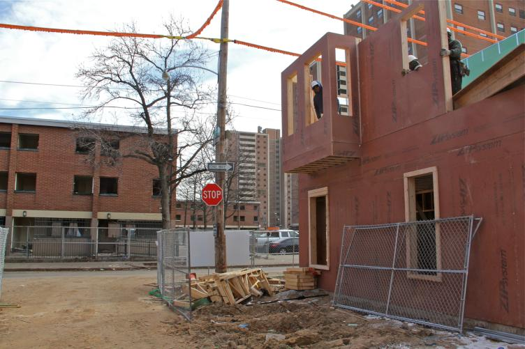 Blumberg low-rises and new construction in progress. February, 2016 | Emma Lee/WHYY