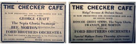 Checker Cafe Ads, Philadelphia Tribune (c. 1930s) | Courtesy Prof. Alphonso McClendon, Drexel University, Westphal College of Media Arts & Design