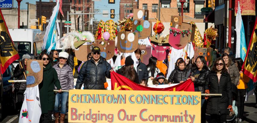Chinatown children and elders walk for safe routes to parks and schools during  Chinatown Connections Parade in 2016.