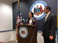 City Controller Rebecca Rhynhart announces an audit of the PPA as Pa. Auditor General Eugene DePasquale looks on