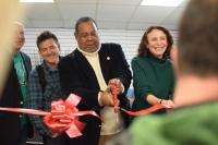 Cutting the ribbon at Kensington Storefront, March 25, 2017 | Grace Shallow / PlanPhilly