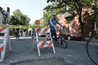 Cyclists avoid construction on Bike Coalition's annual Bike to Work Day celebratory ride/Bastiaan Slabbers for WHYY
