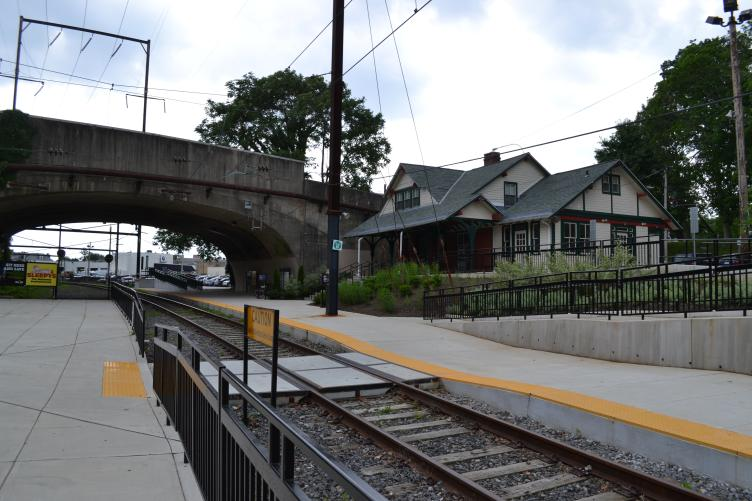 Cynwyd Station serves as both a trailhead and waiting area for SEPTA passengers