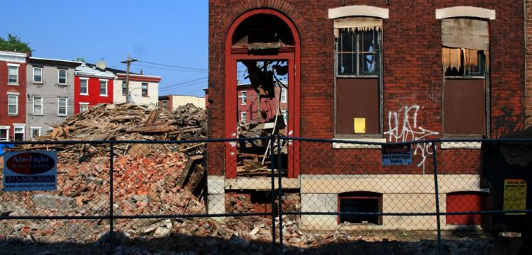 A rowhouse demolition. | Phillytrax, EOTS Flickr Group