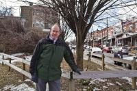 Developer Ken Weinstein at a lot he tried to purchase from the city in Philadelphia's Wayne Junction neighborhood. (Kimberly Paynter/WHYY)