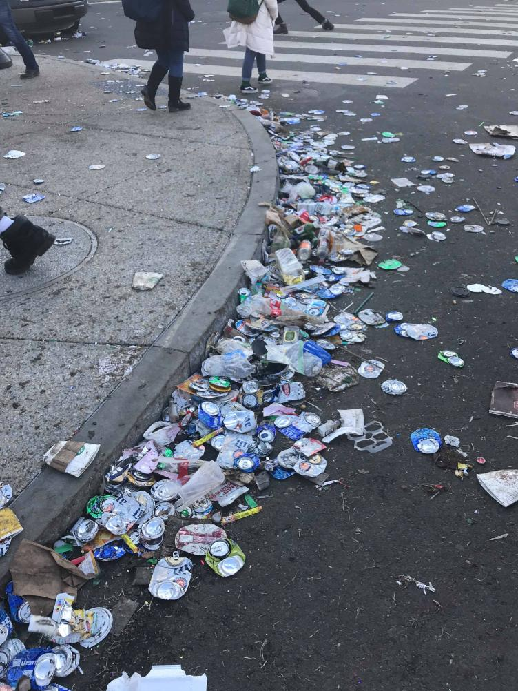 Discarded cans crushed by the crowd in the Aftermath of the Eagles Parade. Credit: Tom Gannon/Nick's Roast Beef