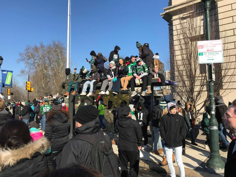 Eagles Fans Sit Atop SEPTA Stop for a Good View. Credit: Tom Gannon/Nick's Roast Beef