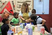 Emily Coleman leads a ceramics class at Olney Rec Center.