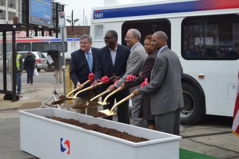 Fattah (middle) posed with SEPTA, neighborhood and city representatives for the ceremonial ground breaking