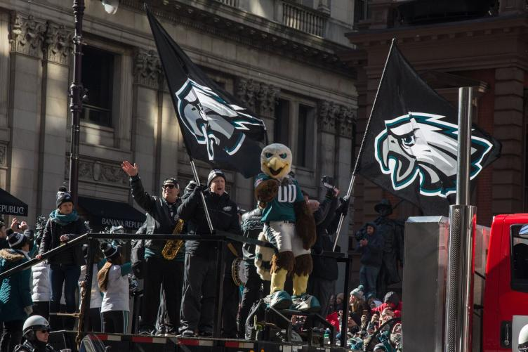 Flags and Eagles mascot Swoop on Broad Street. Credit: Emily Cohen/WHYY