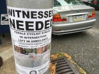 Fliers along Lombard Street in Fitler Square looking for witnesses of a recent car crash that injured a cyclist