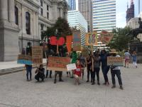 Garden advocates outside City Hall, September 2016 | Catalina Jaramillo / PlanPhilly