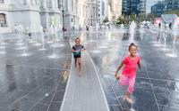 Girls play in Philadelphia's Dilworth Park (Photo credit: Matt Stanley for Center City District)