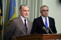 hiladelphia District Attorney Larry Krasner (right) and Chief of Homicide Anthony Voci
