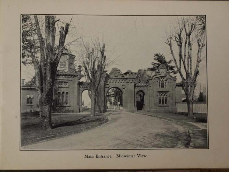 Historic view of Mount Moriah Cemetery gatehouse designed in 1855 by Stephen Decatur Button. | Image courtesy of Friends of Mount Moriah Cemetery