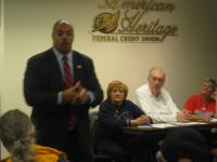 Democratic District Attorney candidate Seth Williams was one of three candidate to address GBCL members last night.