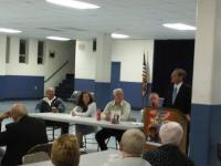 Incumbent Democratic candidate for city controller addresses the Parkwod Civic Association.