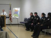 Lt. Bugieda of the 15th District introduces four officer, with more than 20 years of experience among them.