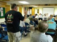 Maggie's Waterfront Cafe owner Kevin Goodchild addresses the East Torresdale Civic Association. Photo by Danny Donnelly.