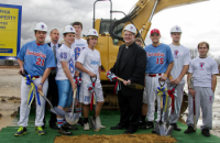 Father Judge athletes join Director of Institutional Advancement Brian Patrick King and President Fr. Joe Campellone for the groundbreaking ceremony at Ramp Playground. Photo by Michelle Alton.