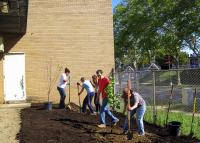 Planting the orchard at SHARE's warehouse in Allegheny. | Philadelphia Orchard Project