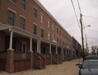 The seven LEED certified row homes built by Habitat for Humanity stand on the 4200 block of West Stiles Street. | Philadelphia Neighborhoods