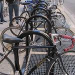 A bike corral on Broad Street.