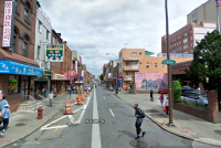 The no-parking zone to the left (on 10th just north of Cherry Street) will host a parklet this summer. (Image via Google Street View)