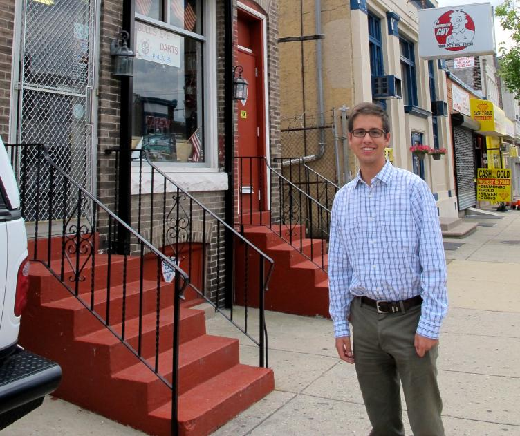 Alex Balloon, Tacony CDC Corridor Manager, on Torresdale Avenue.